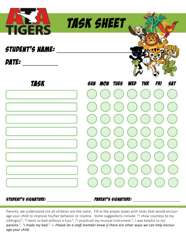 Weekly Task Sheets and Good Deed Sheets